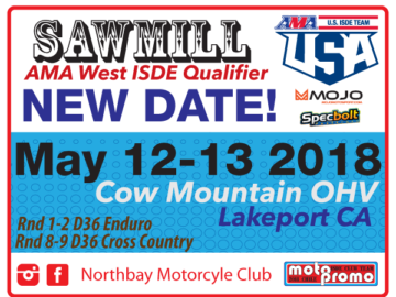 New Date !! Sawmill AMA ISDE West Qualifier